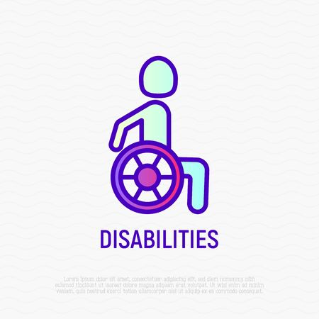 Disabled thin line icon: man in wheelchair. Modern vector illustration. Illustration