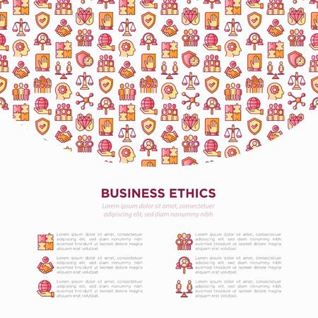 Business ethics concept with thin line icons: union, honesty, responsibility, justice, commitment, no to racism, teamwork, gender employment, core values. Vector illustration, print media template.