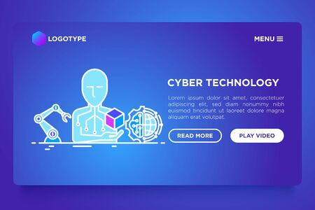 Cyber technology concept with thin line icons: ai, robotics arm, 3D. Vector illustration, web page template on gradient background.