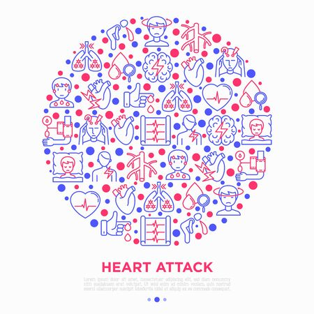 Heart attack symptomps concept in circle thin line icons: dizziness, dyspnea, cardiogram, panic attack, weakness, acute pain, cholesterol level, diabetes. Vector illustration, print media template.