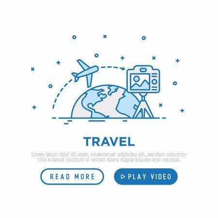 Travel blog concept: camera on tripod shoot video how plane flying around globe. Modern vector illustration, web page template. Çizim