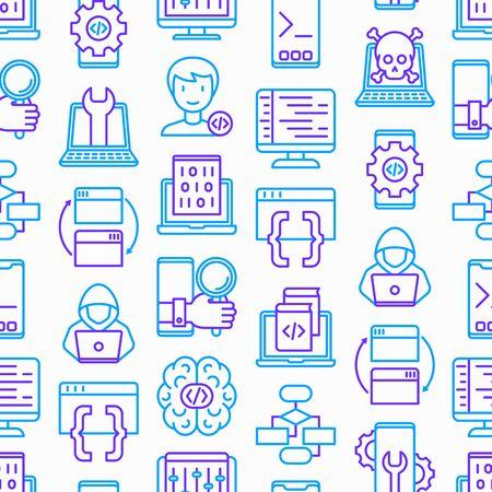 Programming seamless pattern with thin line icons: developer, code, algorithm, technical support, program setup, porting, compilation, app testing, vitus, optimization. Modern vector illustration.  イラスト・ベクター素材