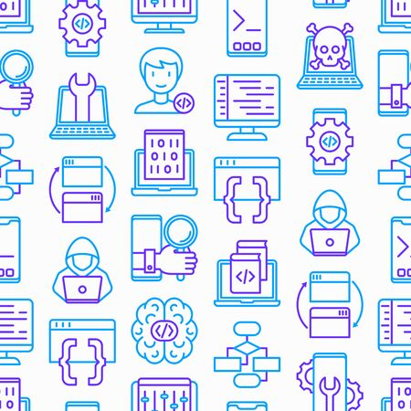 Programming seamless pattern with thin line icons: developer, code, algorithm, technical support, program setup, porting, compilation, app testing, vitus, optimization. Modern vector illustration. Illustration