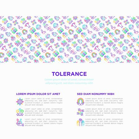 Tolerance concept with thin line icons: gender, racial, national, religious, sexual orientation, disability, respect, self-expression, human rights, democracy. Vector illustration for print media. Çizim