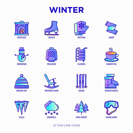 Winter thin line icons set: fireplace, skates, mittens, snowflake, scarf, snowman, pullover, sledges, rocking chair, skiing, icicle, snowfall. Modern vector illustration. Çizim