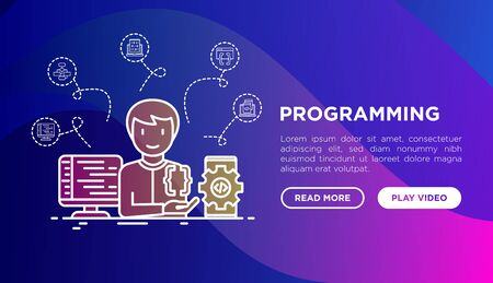 Programming concept with thin line icons: developer is coding program, app testing and optimization. Modern vector illustration, web page template on gradient background.