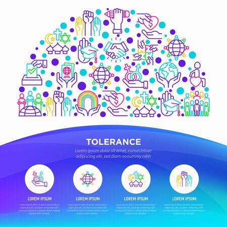 Concepto de tolerancia en medio círculo con iconos de líneas finas: género, raza, religión, orientación, discapacidad, respeto, autoexpresión, derechos humanos, democracia. Ilustración vectorial.