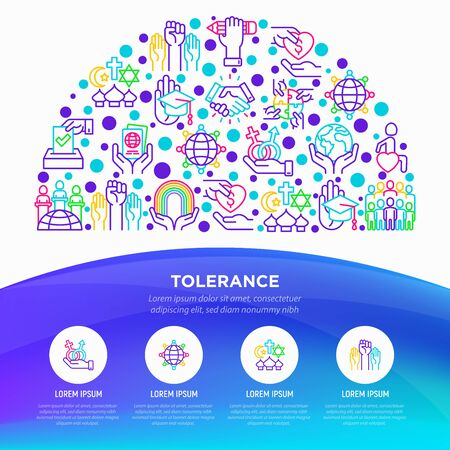 Tolerance concept in half circle with thin line icons: gender, racial, religious, sexual orientation, disability, respect, self-expression, human rights, democracy. Vector illustration. Çizim