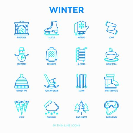 Winter thin line icons set: fireplace, skates, mittens, snowflake, scarf, snowman, pullover, sledges, rocking chair, skiing, icicle, snowfall. Modern vector illustration. Illustration
