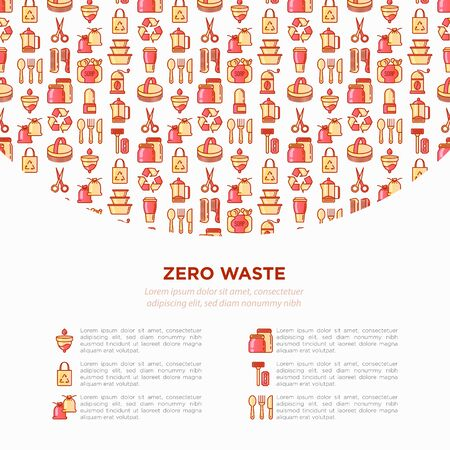Zero waste concept with thin line icons: menstrual cup, safety razor, glass jar, natural deodorant, hand coffee grinder, french press, bath body brush. Vector illustration, print media template. Çizim