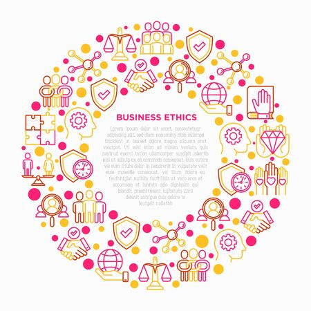 Business ethics concept in circle with thin line icons: union, honesty, responsibility, justice, commitment, no to racism, gender employment, core values. Vector illustration, print media template. Çizim