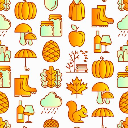 Autumn seamless pattern with thin line icons: maple, mushrooms, oak leaves, apple, pumpkin, umbrella, rain, candles, acorn, rubber boots, raincoat, pinecone, squirrel. Modern vector illustration.