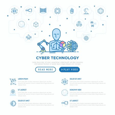 Cyber technology concept: Ai creates 3D. Thin line icons: virtual reality glasses, bionics, robotics, global network, computer game, microprocessor, nano robots. Vector illustration, web page template Çizim