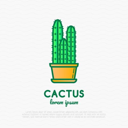 Cactus in pot thin line icon. Modern vector illustration of home plant.