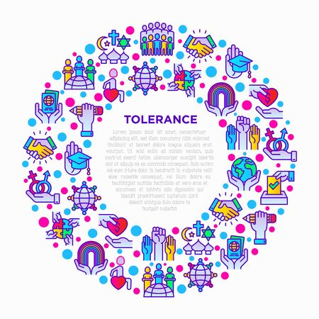 Tolerance concept in circle with thin line icons: gender, racial, religious, sexual orientation, interclass, for disability, respect, self-expression, human rights. Vector illustration for print media Stok Fotoğraf - 131948662