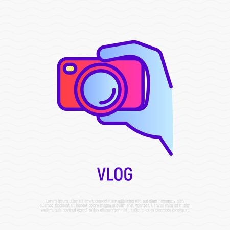 Filming vlog: camera in hand thin line icon. Modern vector illustration for video Illustration