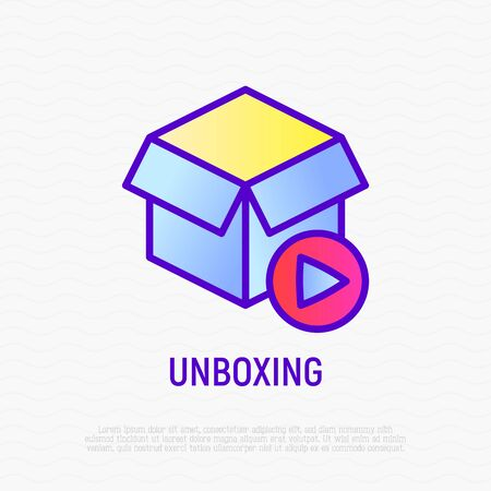 Unboxing video thin line icon: opened box with play button. Modern vector illustration. Banque d'images - 131948678