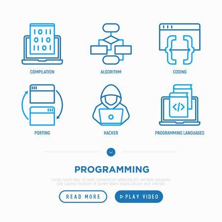 Programming thin line icons set: coding, algorithm, porting, compilation, hacker, programming languages. Modern vector illustration.