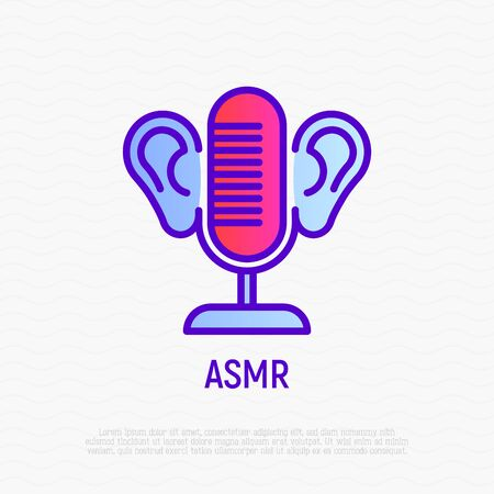 ASMR thin line icon: microphone and ears. Relaxation video with calming sounds. Modern vector illustration. Illusztráció