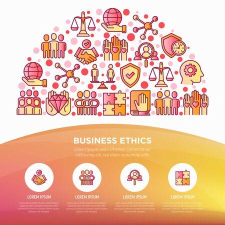 Concept d'éthique des affaires en demi-cercle avec des icônes de ligne mince : union, honnêteté, responsabilité, justice, engagement, non au racisme, emploi de genre, valeurs fondamentales. Illustration vectorielle, modèle de page web