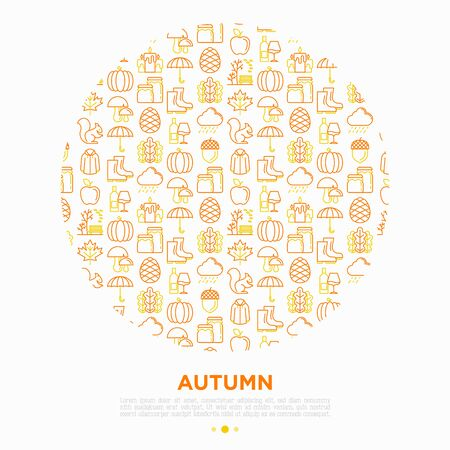 Autumn concept in circle with thin line icons: maple, mushrooms, oak leaves, apple, pumpkin, umbrella, rain, acorn, rubber boots, raincoat, pinecone, squirrel. Vector illustration for print media. 向量圖像