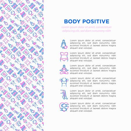 Body positive concept with thin line icons: woman plus size, yoga, bikini, armpit hair, legs hair, mirror, disability. Stickers with quotes. Vector illustration, print media template. Archivio Fotografico - 132806612