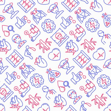 Heart attack symptoms seamless pattern with thin line icons: dizziness, dyspnea, cardiogram, panic attack, weakness, acute pain, cholesterol level, nausea, diabetes. Modern vector illustration.