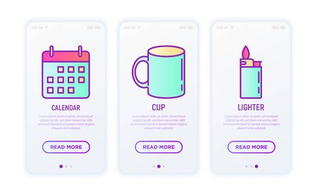 Promotional products thin line icons set: cup, lighter, calendar. Modern vector illustration for user mobile interface.