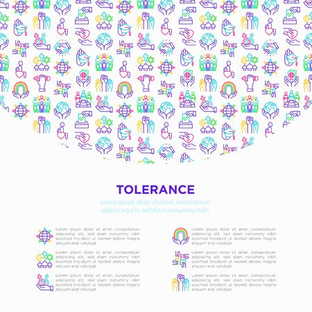 Tolerance concept with thin line icons: gender, racial, national, religious, sexual orientation, disability, respect, self-expression, human rights, democracy. Vector illustration, web page template.