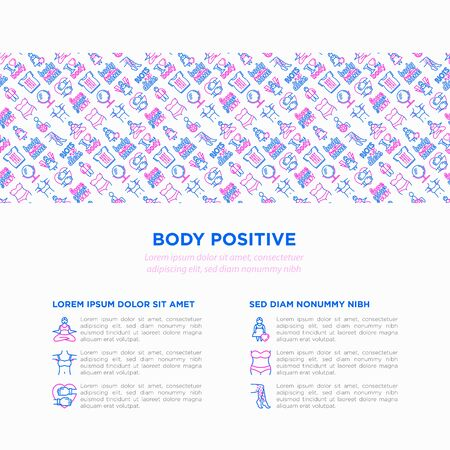 Body positive concept with thin line icons: woman plus size, yoga, bikini, armpit hair, legs hair, mirror, disability. Stickers with quotes. Vector illustration, print media template. Archivio Fotografico - 133066245