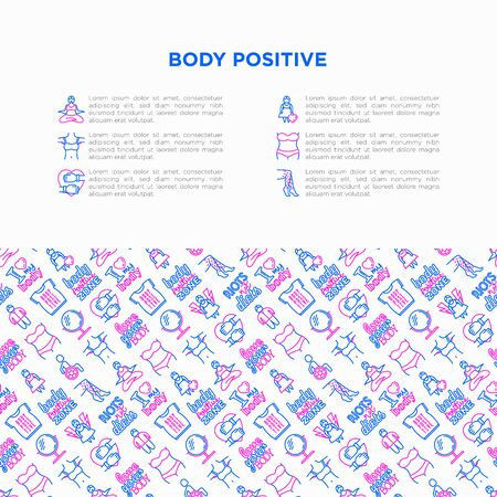 Body positive concept with thin line icons: woman plus size, yoga, bikini, armpit hair, legs hair, mirror, disability. Stickers with quotes. Vector illustration, print media template. Ilustrace