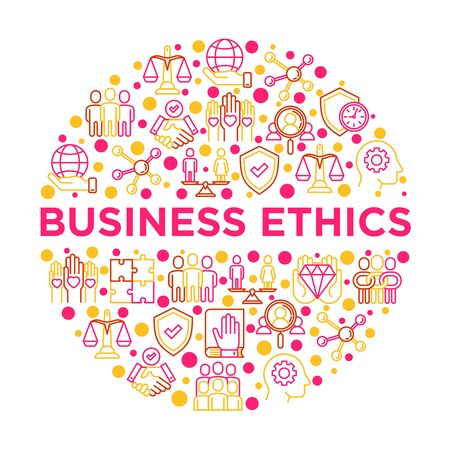 Business ethics concept in circle with thin line icons: union, trust, honesty, responsibility, commitment, no to racism, recruitment service, teamwork. Vector illustration, print media template. Ilustração Vetorial