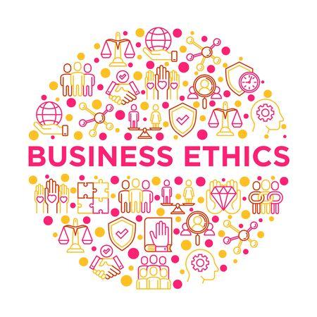 Concept d'éthique des affaires en cercle avec des icônes de ligne mince : union, confiance, honnêteté, responsabilité, engagement, non au racisme, service de recrutement, travail d'équipe. Illustration vectorielle, modèle de support d'impression. Vecteurs