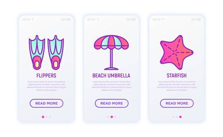 Holiday thin line icons set: flippers, beach umbrella, starfish. Vector illustration for user mobile interface.