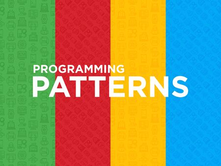 Four different Programming seamless patterns with thin line icons: developer, code, algorithm, technical support, program setup, porting, compilation, app testing, virus. Vector illustration.