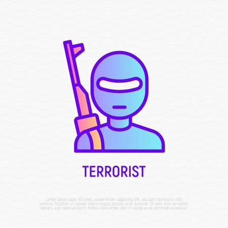 Terrorist with weapon thin line icon. Modern vector illustration of criminal.