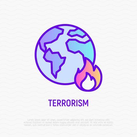 Terrorism thin line icon: globe in fire. Modern vector illustration. Ilustrace