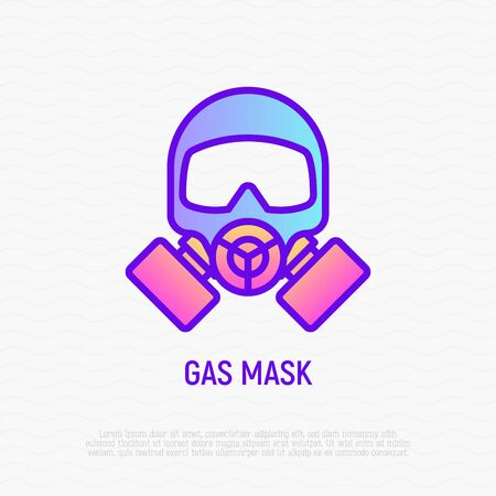 Gas mask thin line icon. Modern vector illustration of respirator.
