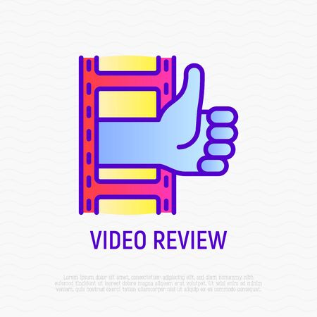 Video review thin line icon: thumbs up from film. Modern vector illustration of online marketing.
