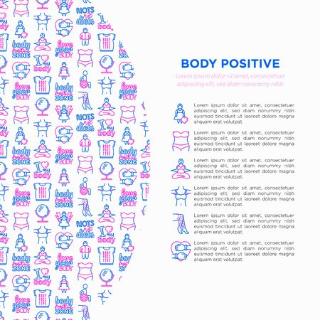 Body positive concept with thin line icons: woman plus size, yoga, bikini, armpit hair, legs hair, mirror, disability. Stickers with quotes. Vector illustration, print media template.