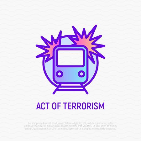 Act of terrorism thin line icon: bomb in train. Modern vector illustration of detonation.