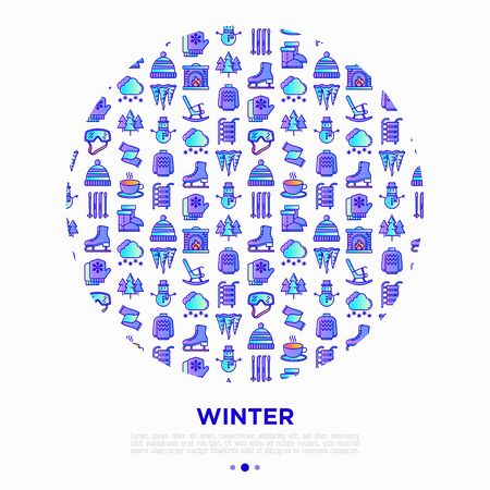 Winter concept in circle with thin line icons: fireplace, skates, mittens, snowflake, scarf, snowman, pullover, sledges, rocking chair, skiing, icicle. Vector illustration, print media template.