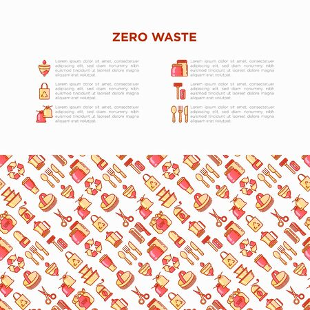 Zero waste concept with thin line icons: menstrual cup, safety razor, glass jar, natural deodorant, hand coffee grinder, , bath body brush, wooden comb. Vector illustration, print media template. Çizim
