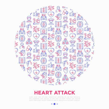 Heart attack symptoms concept in circle thin line icons: dizziness, dyspnea, cardiogram, panic attack, weakness, acute pain, cholesterol level, nausea. Vector illustration, print media template.