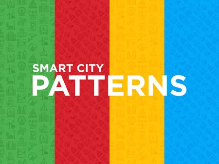 Four different Smart city seamless patterns with thin line icons: green energy, intelligent urbanism, efficient mobility, zero emission, balanced traffic, CCTV, telemedicine. Vector illustration.