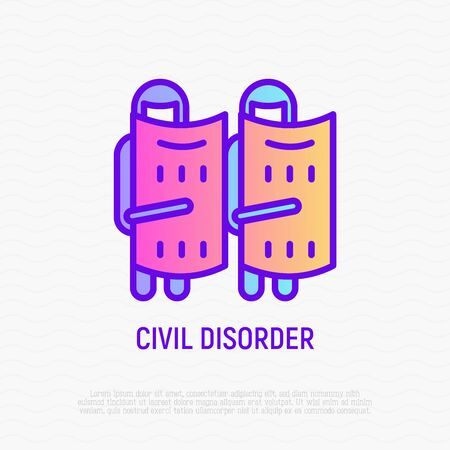 Civil disorder thin line icon: soldiers in helmets with shields. Modern vector illustration of national security.