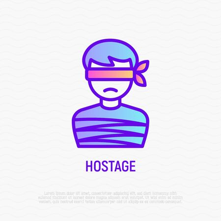 Hostage thin line icon: tied human. Modern vector illustration of kidnapping. Illustration