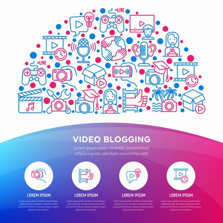 Video blogging concept in half circle with thin line icons: vlog, ASMR, mukbang, unboxing, DIY, stream game, review, collaboration, podcast, tips and tricks. Vector illustration, web page template.
