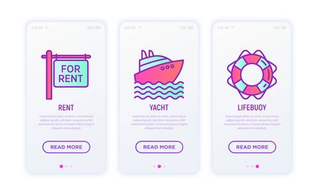 Holiday thin line icons set: rent signboard, yacht, lifebuoy. Modern vector illustration. Illustration