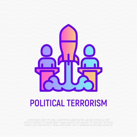 Political terrorism thin line icon: two presidents at tribunes and between them nuclear bomb. Modern vector illustration. Ilustrace